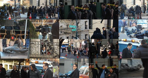 Behind-the-scenes photos from Fringe episode 119 'The Road Not Taken', filming in NYC.
