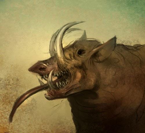 Drawing Evil scary Boar monster for Cartoon Comics manga ... | 500 x 460 jpeg 36kB