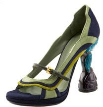 Prada's flower heel mary janes don't fit right.