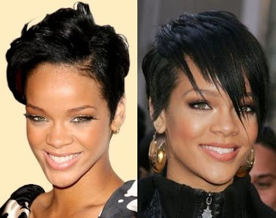 rihanna short hairstyles with bangs. Rihanna Short Hairstyles With