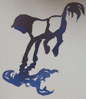 ink painting of bucking horse by ophelia keys