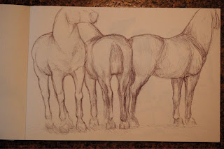 ink drawing of three horses by ophelia keys