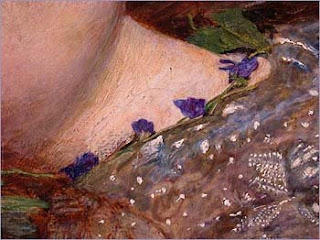 violets around the neck of ophelia by Millais