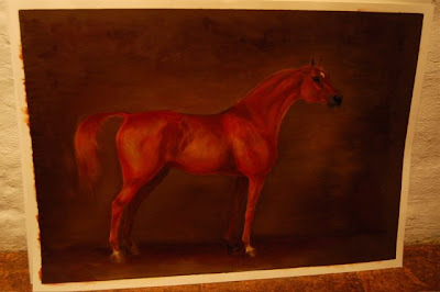 oil painting of a chestnut arabian by ophelia keys