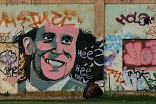Portrait de Boris Vian taggé dans les locaux abandonnés de la SMN