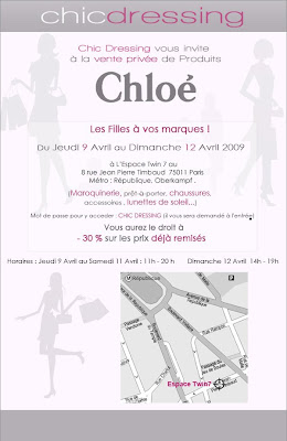 Invitation Vente Privée CHLOE à Paris