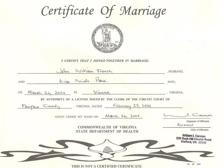 Savvy Winter Bride Marriage License