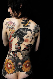 sexy girl with japanese girl tattoo on back body