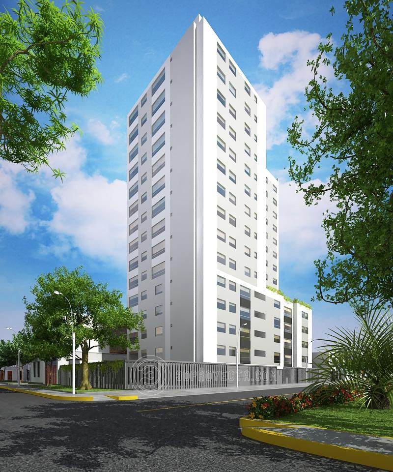 Vistas en 3d de fachadas edificios de departamentos en san for Departamentos minimalistas