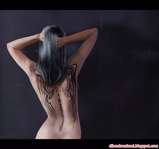 sexy tattooed girl back