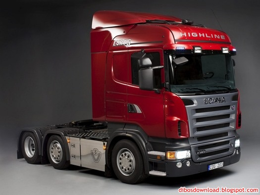 red scania trucks