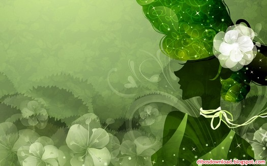green silhouette of women and flowers
