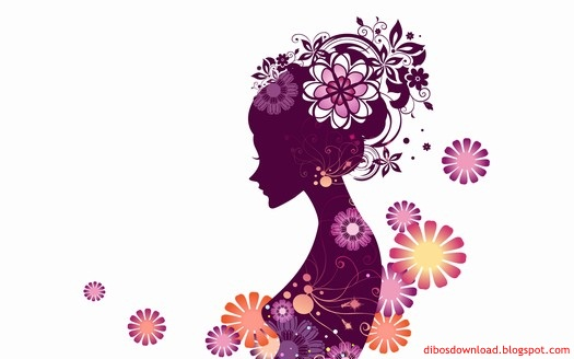 silhouette of women and flowers