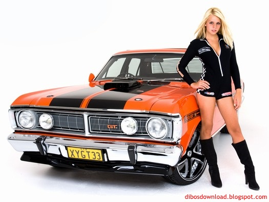 orange antique cars and hot girls