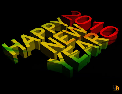 Holiday Celebration Wallpaper 1024 768 - 2010 Happy New Year 3D Text Red Yellow Green