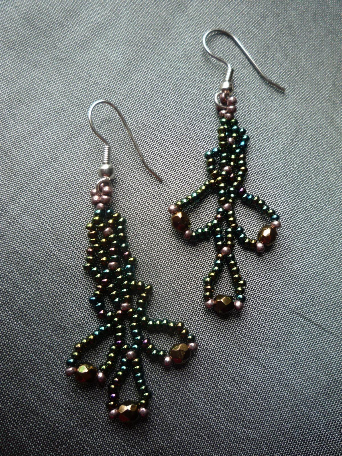 blue ridge designs lacy net seed bead earrings