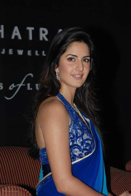 wallpaper of katrina kaif_09. Katrina kaif: Blue Saree