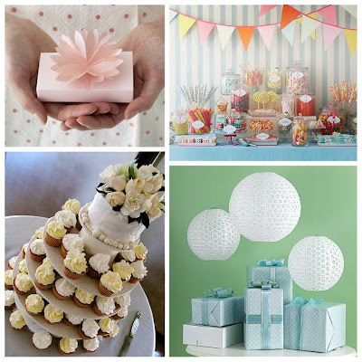 Pale Pink Waterlily Favor Boxes, Penny candy displayed in glass jars, cupcakes with white and pale yellow frosting tiered like a wedding cake with a small cake top tier decorated with fresh flowers and white lacy paper lanterns over table with wrapped packages