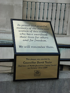 Brass Plaque at Nottinghamshire Couny Hall