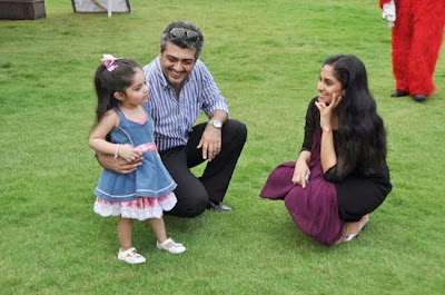 Ajith and Shalini and daughter stills
