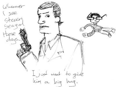 Pacian hugs Steven Seagal, in Doodle-o-vision