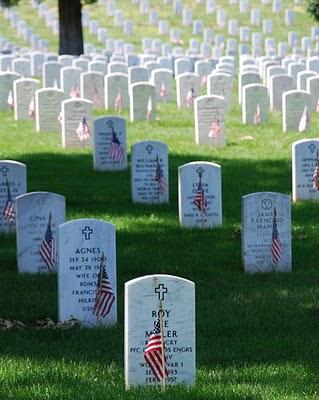 Gravestones at Arlington               National Cemetary