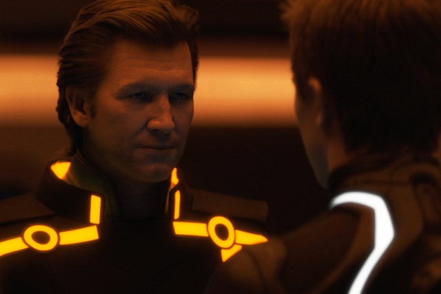young jeff bridges tron. CGI of young Jeff Bridges.