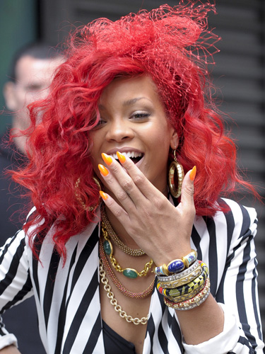 rihanna red hair color. Bright Colored Hair