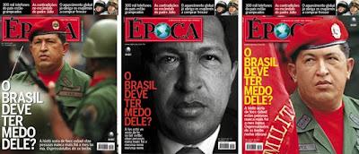 Chávez auf drei Cover-Entwürfen des Magazins 'Época'