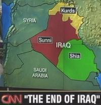 Landkarte eines in drei mögliche Teile aufgeteilten Iraks