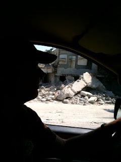 Mark Kirwin driving through Port-Au-Prince.