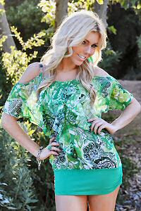 green floral chiffon ruffle bare shoulder top
