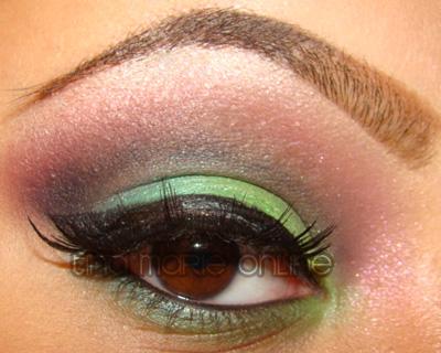 TINAMARIEONLINE Pink And Green Cut Crease Look Using MAC