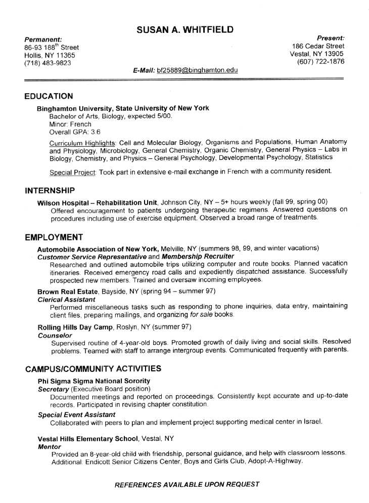it resume format sample. tattoo curriculum vitae format