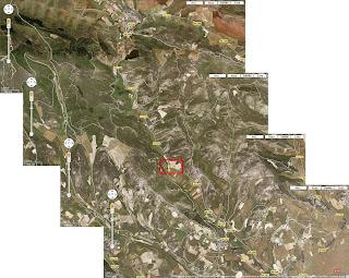 Fotografía por satélite de la carretera entre Armañanzas y Espronceda, señalándose el lugar de la ermita de San Juan