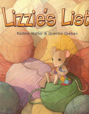 Front cover of the picture book Lizzie's List, showing a mouse knitting in front of a pile of balls of wool.