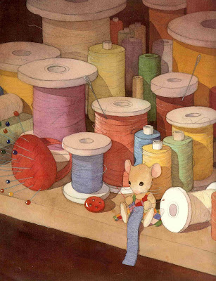 Page from a picture book, showing a mouse knitting in front of a pile of spools of thread.