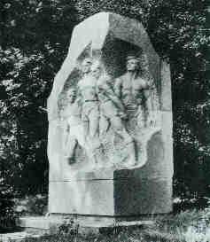 monumento aos jogadores que morreram de cabeça erguida frente o invasor nazi