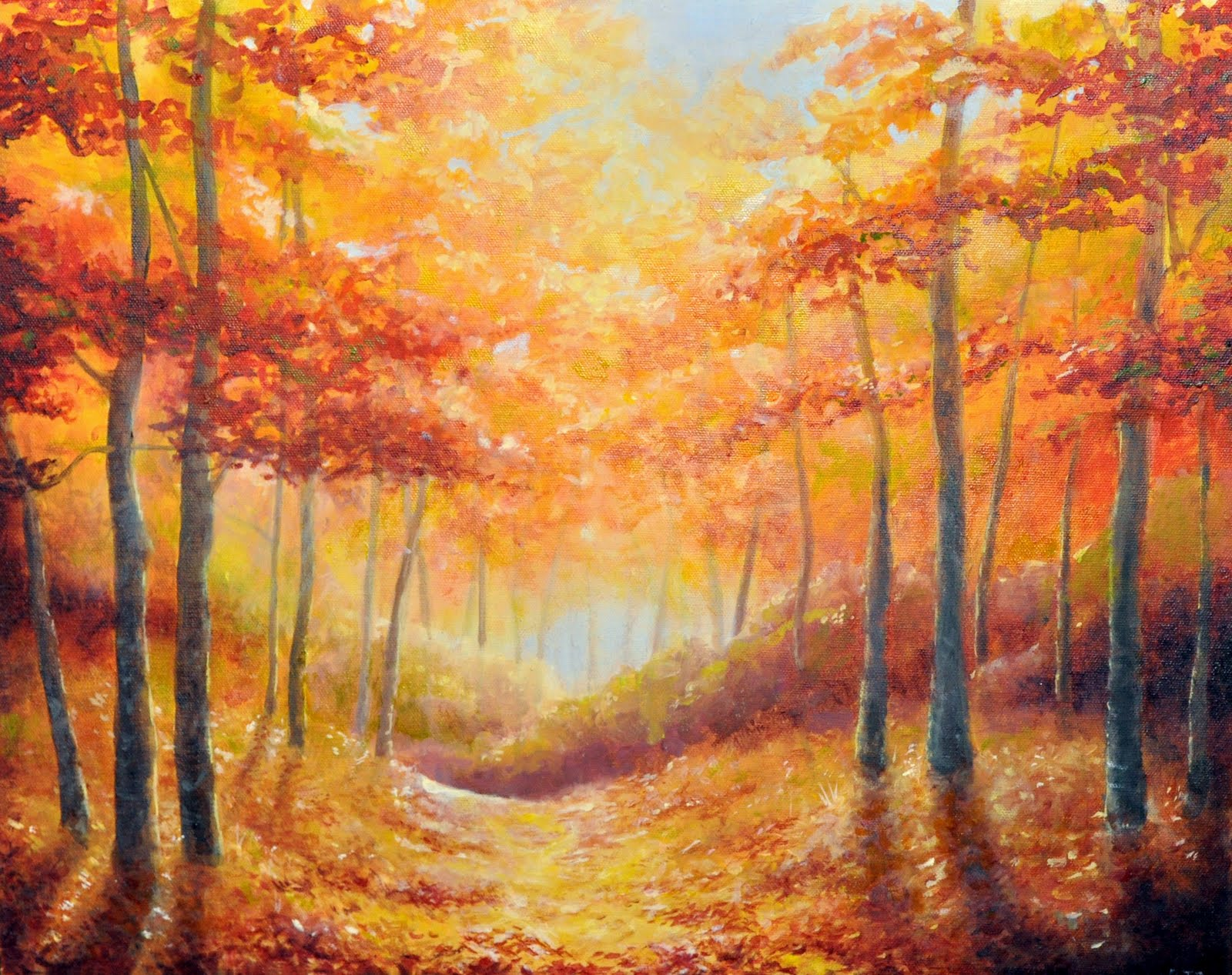 Art by erica blankenbehler autumn leaves for Fall pictures to paint