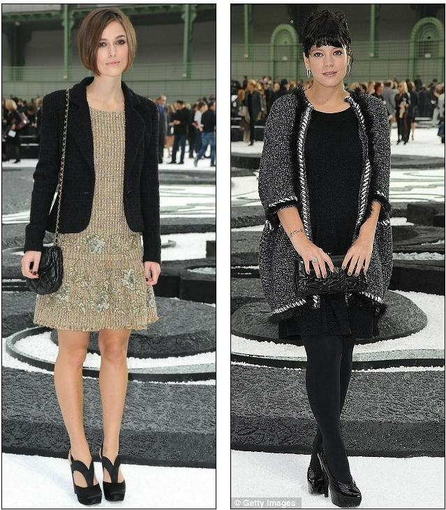 Parisian chic: Keira Knightley, left, and Lily Allen do demure at Chanel's