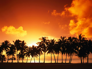 Aitutaki Island with Sunset wallpaper and photo