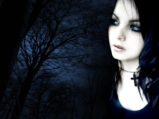 Girl With Trees In Dark Background wallpaper