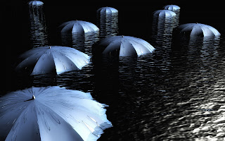 Umbrellas Above Water at Night wallpaper
