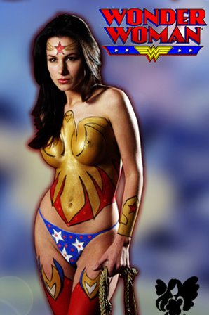women body art. Body art - Superhero