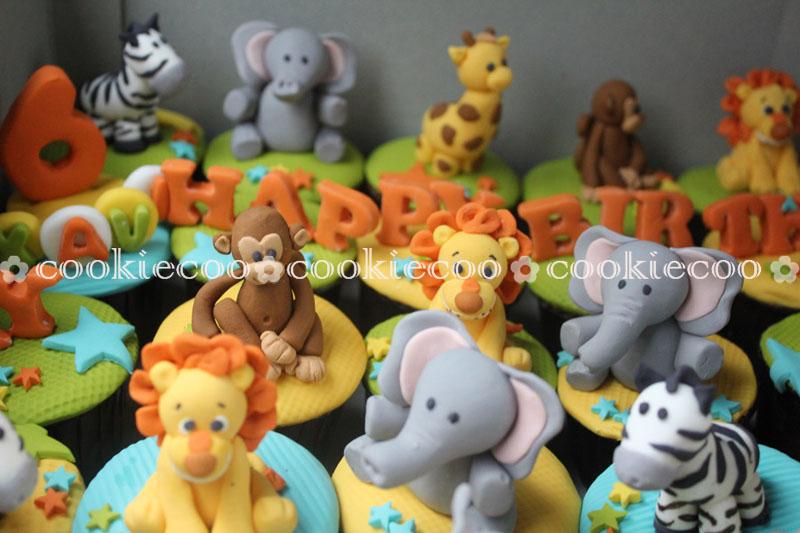 cookiecoo Zoo animals tiered cupcake for Xavi