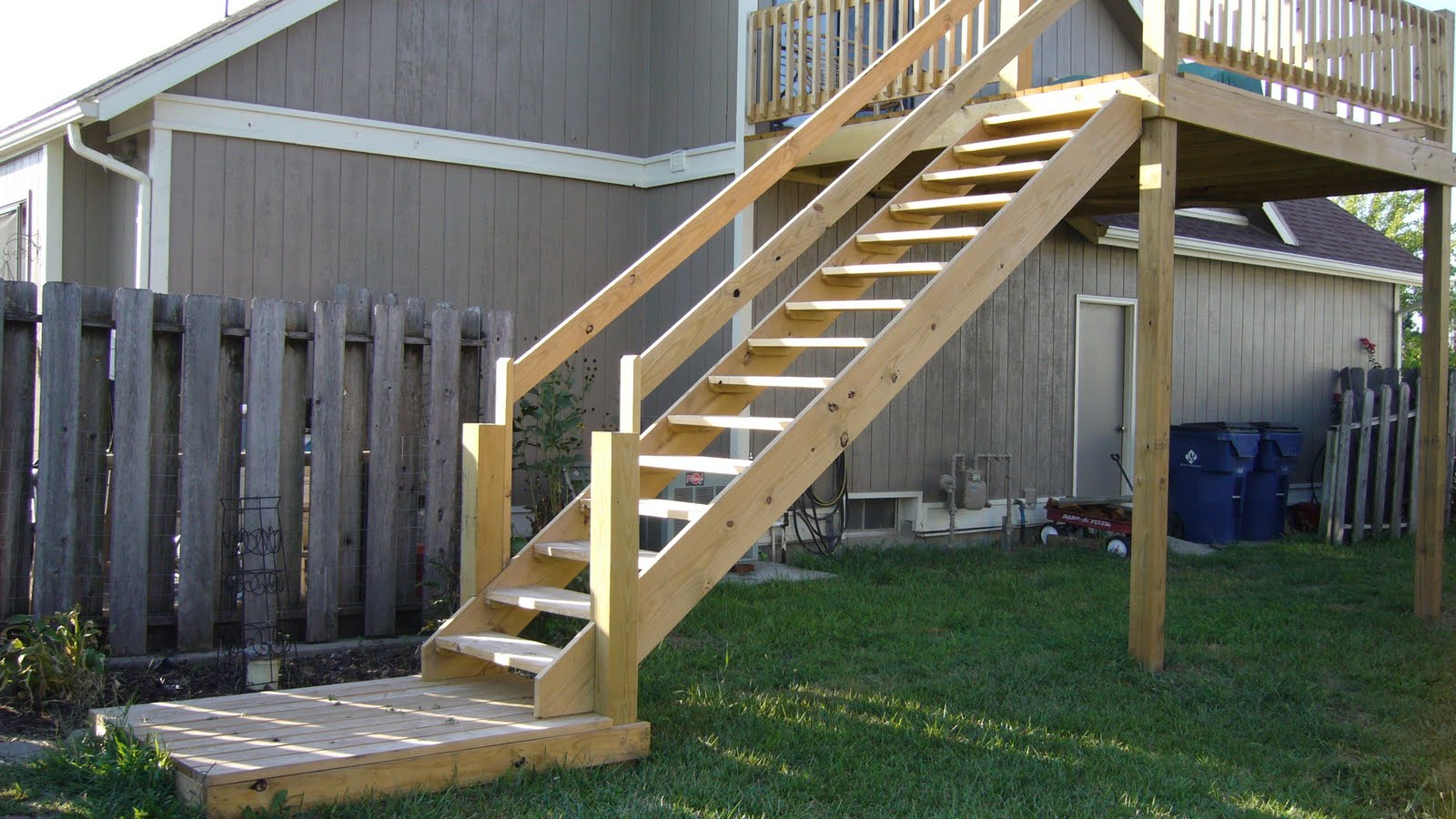 Central kansas home building repair exterior deck stair for Exterior stairs
