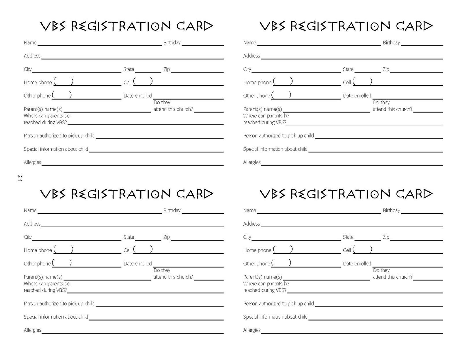 children s ministry vbs registration cards