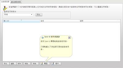 Serv-U 8伺服器-全域使用者