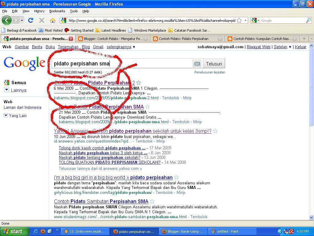 Kabarmu.blogspot.com berada pada posisi di bawah urutan 1 dan 2 dari