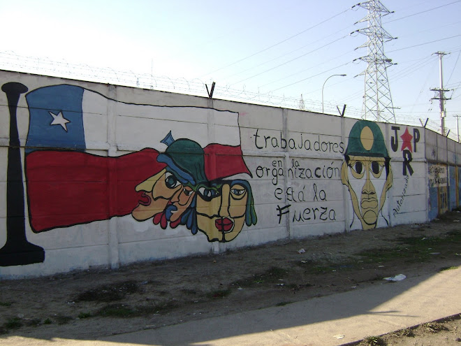 Mural realizado por la Juventud Popular Revolucionaria el Primero de mayo, en 8 Sur con Carretera